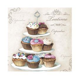 Servilleta Decoupage Cupcakes on Etagere