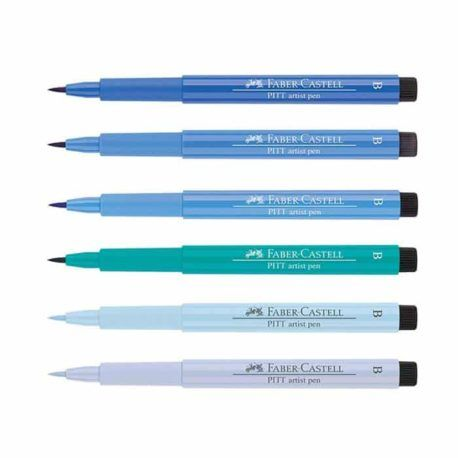 6 Rotuladores Pitt Artist Pen Brush Azules