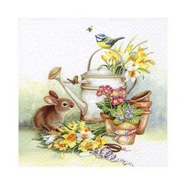 Servilleta Decoupage Bunny with Watering Can