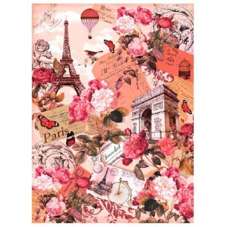 Papel de Arroz Paris Rosa 30x41