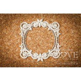 Chipboard Round Frame - Flower