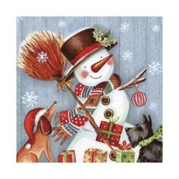 Servilleta Decoupage Snowman with Broomstick